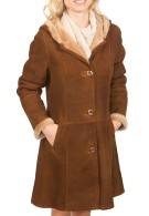 Belle Hooded Shearling Coat