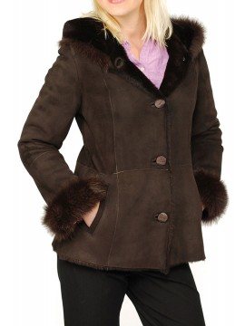 Daisy Hooded Shearling Coat