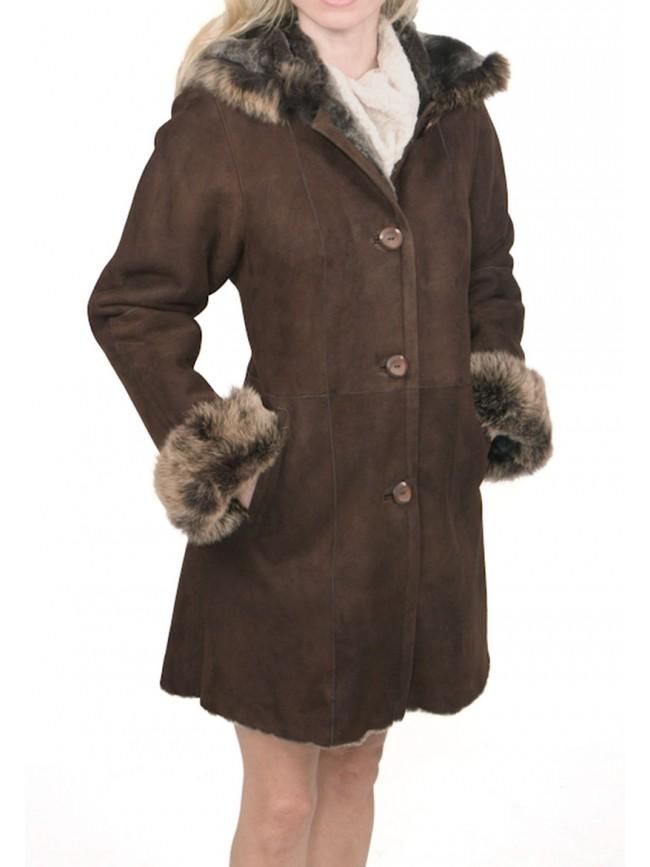 JoAnn Hooded Shearling Coat